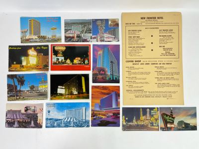 Collection Of Vintage Las Vegas Nevada Postcards And New Frontier Hotel Menu In Las Vegas