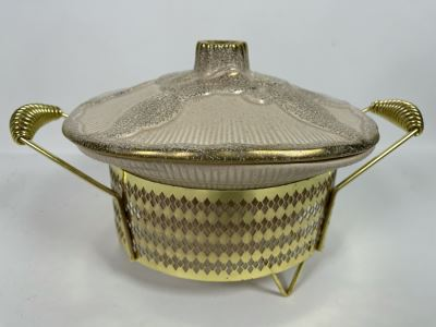 Vintage Mid-Century California Pottery Casserole Dish With Gold Cradle 10W X 8H