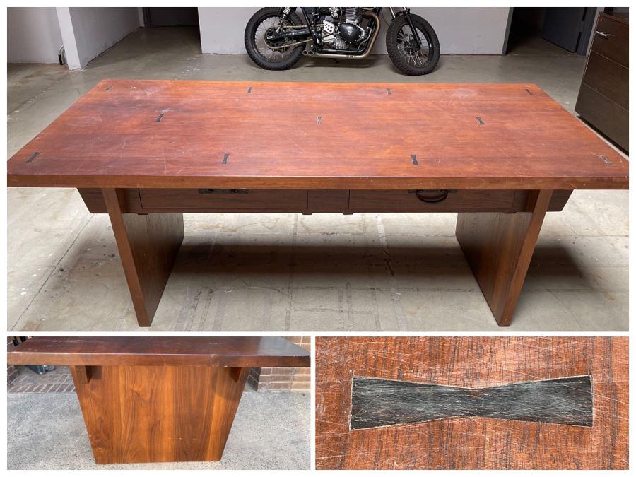 Impressive Heavy TEAK Wood Modern Lines 2-Drawer Desk From RAEN (RAEN Recently Grew Into Bigger Space) 84W X 42.5D X 31H