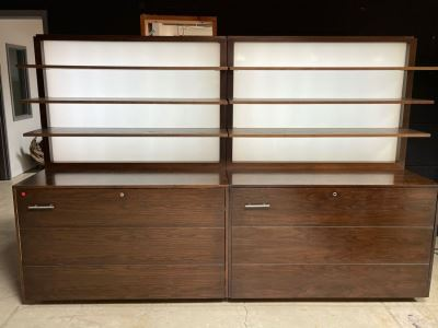 Large Heavy Duty Custom Wooden Two-Piece Display Shelving Cabinets With Back Lighting On Casters From RAEN (RAEN Recently Grew Into Bigger Space) Units Can Be Separated Or Attached (Each Unit Is 54W X 31D X 72H)