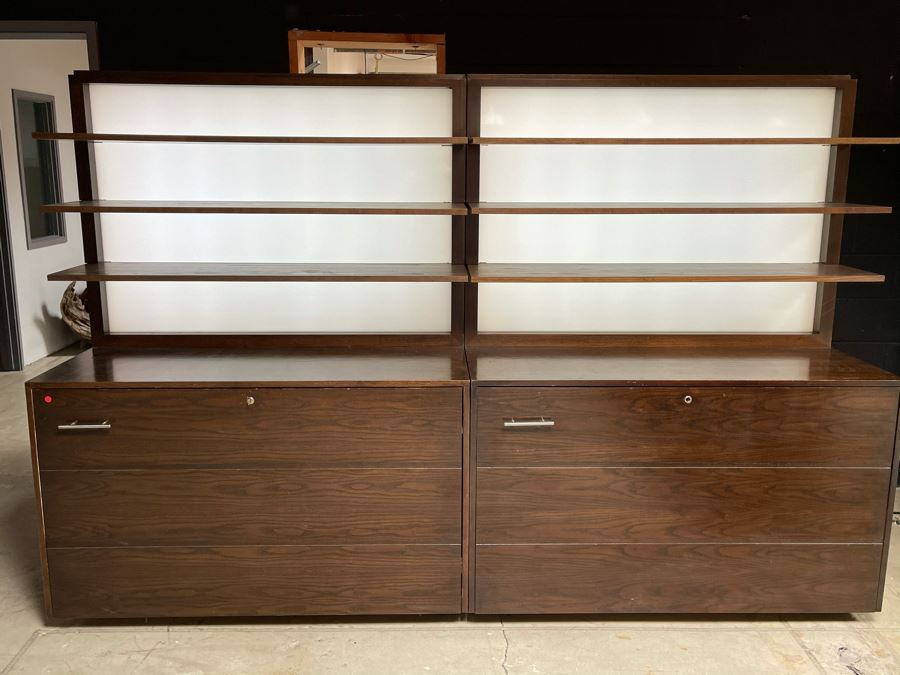 Large Heavy Duty Custom Wooden Two-Piece Display Shelving Cabinets With Back Lighting On Casters From RAEN (RAEN Recently Grew Into Bigger Space) Units Can Be Separated Or Attached (Each Unit Is 54W X 31D X 72H) [Photo 1]