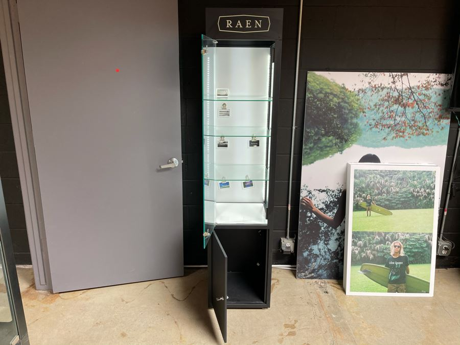 Metal And Glass Lockable Display Cabinet (Have Key) With Back And Overhead LED Lighting From RAEN (RAEN Recently Grew Into Bigger Space) 16W X 16D X 72H