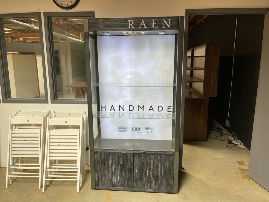 Heavy Metal And Glass Lockable Display Cabinet (Have Key) With Back And Overhead LED Lighting From RAEN (RAEN Recently Grew Into Bigger Space) 40W X 16D X 76H