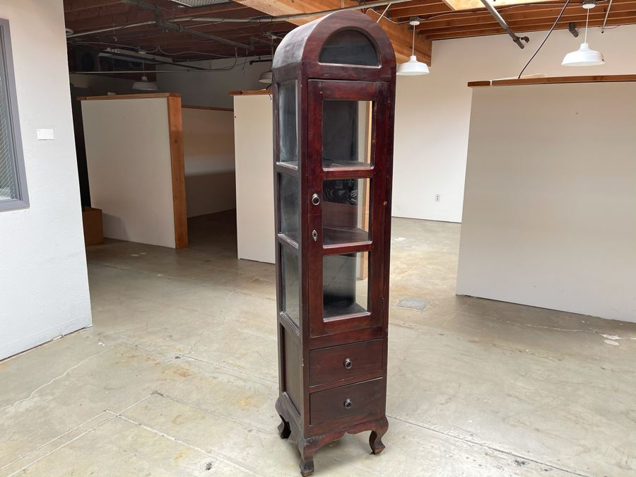 Vintage Wooden Dome Top Display Cabinet With 2-Drawers From RAEN (RAEN Recently Grew Into Bigger Space) 16W X 13D X 74H