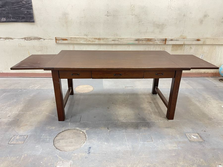 Solid Wooden Desk With Extendable Built-In Side Leaves From RAEN Headquarters In Oceanside (RAEN Recently Grew Into Bigger Space) 70W X 38D X 31.5H (18' Leaf On Each Side)