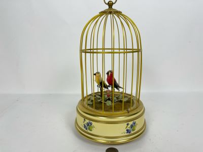 Vintage Reuge Music Sainte-Croix Switzerland Clockwork Singing Birds Cage Automaton Working 6W X 11H