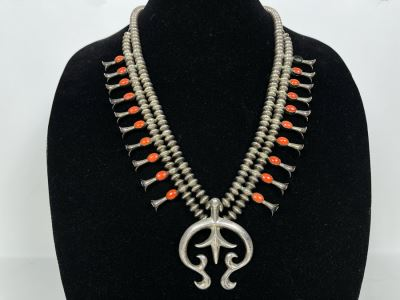 Signed Vintage Native American Squash Blossom Sterling Silver And Coral Necklace (Missing One Piece Of Coral) Signed LFK 122g