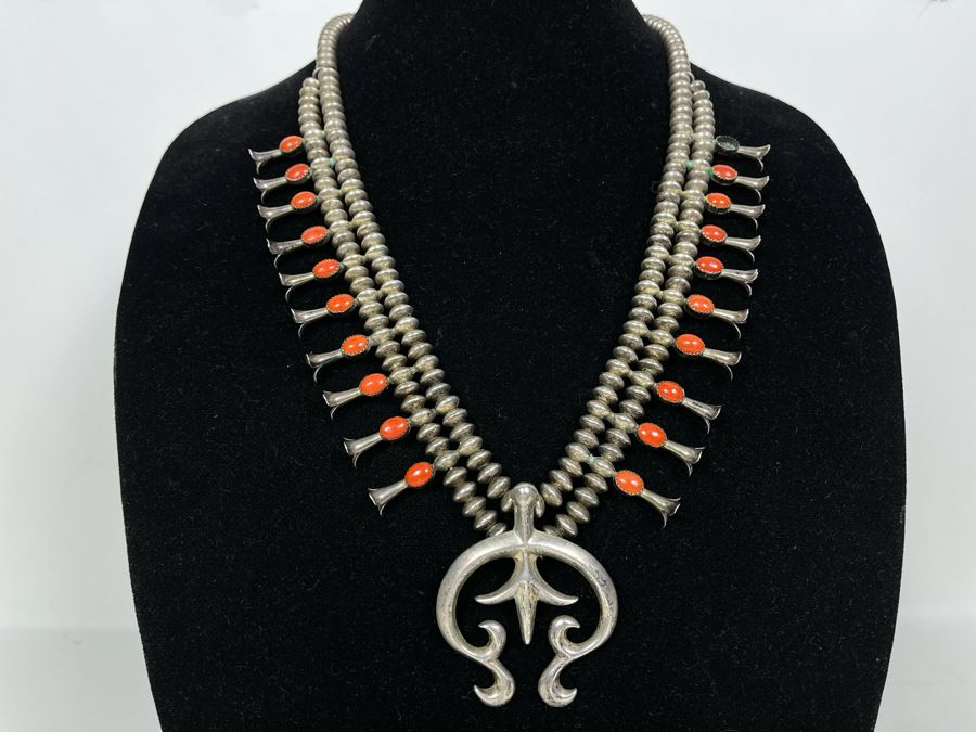 Signed Vintage Native American Squash Blossom Sterling Silver And Coral Necklace (Missing One Piece Of Coral) Signed LFK 122g [Photo 1]