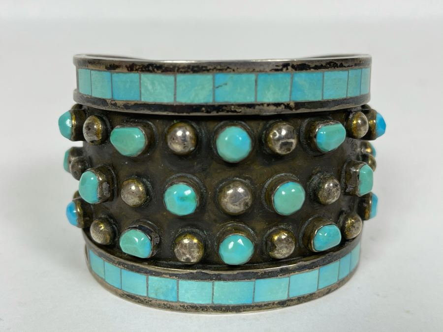 Native American Zuni Signed Sterling Silver And Turquoise Cuff Bracelet Size 5 1/2 Signed Jobeth Mayes Maize 83.2g [Photo 1]