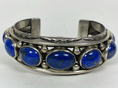 Signed Orville Tsinnie Navajo New Mexico - Lapis Lazuli And Sterling Silver Bracelet 93.5g