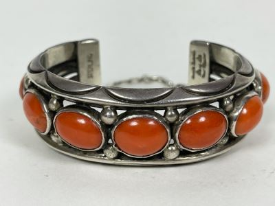 Signed Orville Tsinnie Navajo New Mexico - Coral And Sterling Silver Bracelet 87.2g