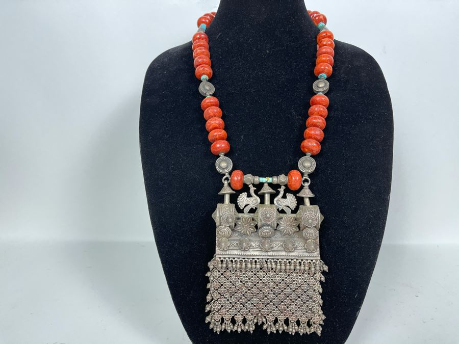 Vintage Chinese Tibetan Sterling Silver Pendant With Red Coral And Turquoise Beaded Necklace Statement Piece 386g [Photo 1]