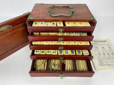 Vintage Chinese Mahjong Set Bamboo And Bone Tiles With Rosewood Wooden 5-Drawer Box 9.5W X 6D X 6.5H