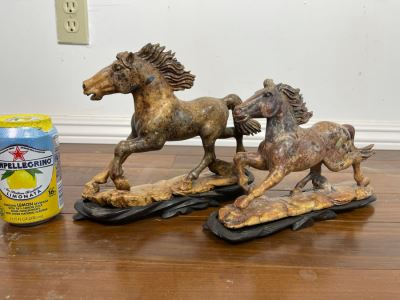 Pair Of Individually Signed Chinese Hardstone Carved Horses On Custom Wooden Bases (Larger Measures 10W X 8H)