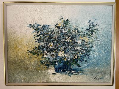 Original Impasto Still Life Painting (Very Thick Paint) Signed (Signature Illegible) Framed 25 X 19