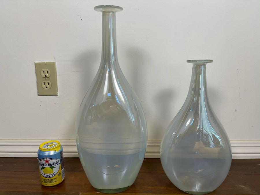 Pair Of West Elm Irridescent Glass Vases 18.5H And 14H [Photo 1]