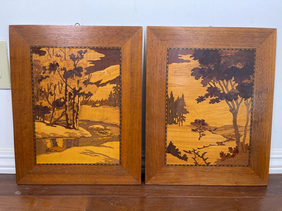 Pair Of Inlaid Wood Landscape Paintings 12 X 15 Ea [Photo 1]