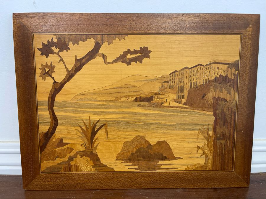 Inlaid Wood Landscape Painting 15.5 X 11.5 [Photo 1]