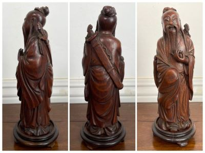 Old Chinese Hand Carved Figure Of Laozi Lao Tzu Founder Of Taoism With Wooden Stand 8.5H (One Figure - Showing Multiple Views)