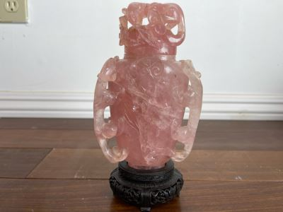 Vintage Chinese Relief Carved Rose Quartz Vase Jar With Lid And Stand 8H X 4W