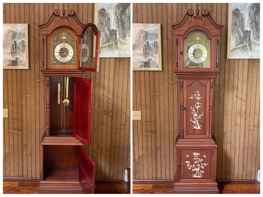 Inlaid Mother Of Pearl Rosewood Grandfather Clock 19W X 11D X 83H [Photo 1]