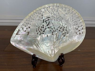 Chinese Carved Mother Of Pearl Shell With Stand 8 X 7