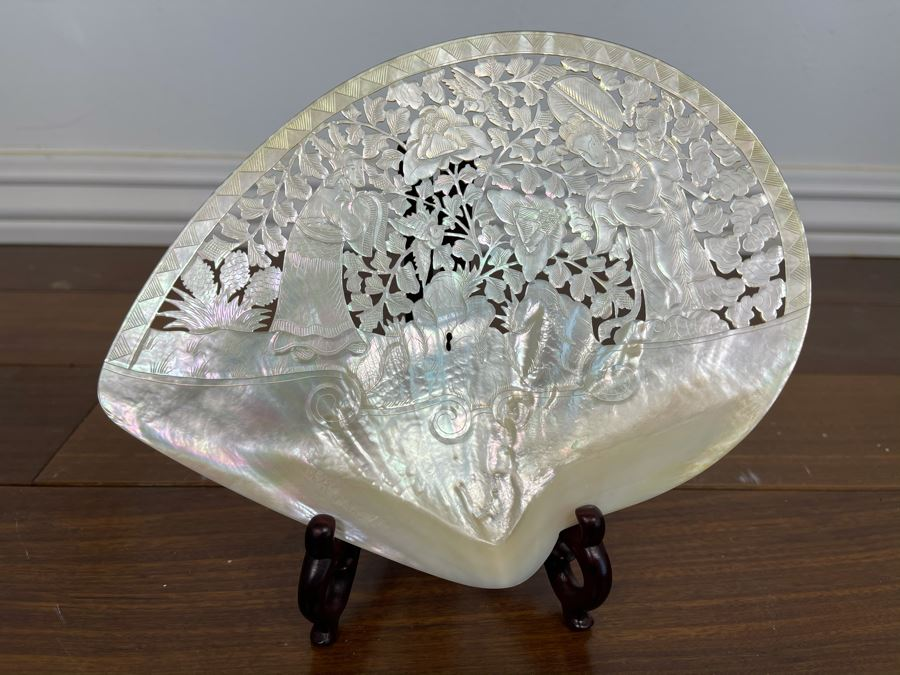 Chinese Carved Mother Of Pearl Shell With Stand 8 X 7 [Photo 1]