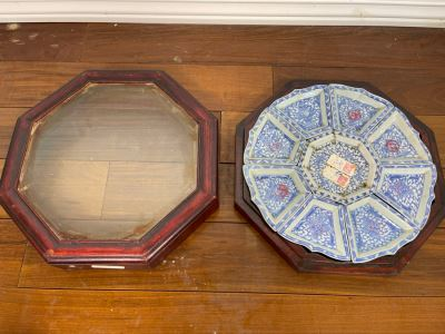 People's Republic Of China Porcelain Divided Dishes Plates Sweetmeat With Rosewood Display Box 11.5W X 3H