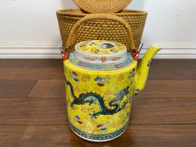 Chinese Porcelain Dragon Design Teapot With Teapot Warmer Basket 8H X 9.5W