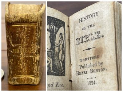 Antique 1824 Miniature Book History Of The Bible Published By Henry Benton 12.5W X 2H