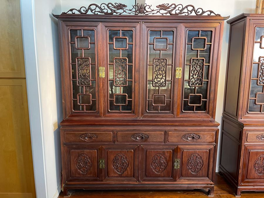 Vintage Chinese Carved Rosewood Cabinet Bookshelf China Cabinet With Dragon Serpent Motif 66'W X 19'D X 80'H [Photo 1]