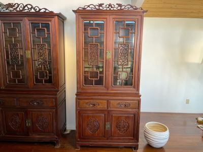 Vintage Chinese Carved Rosewood Cabinet Bookshelf China Cabinet With Dragon Serpent Motif 36'W X 19'D X 81'H