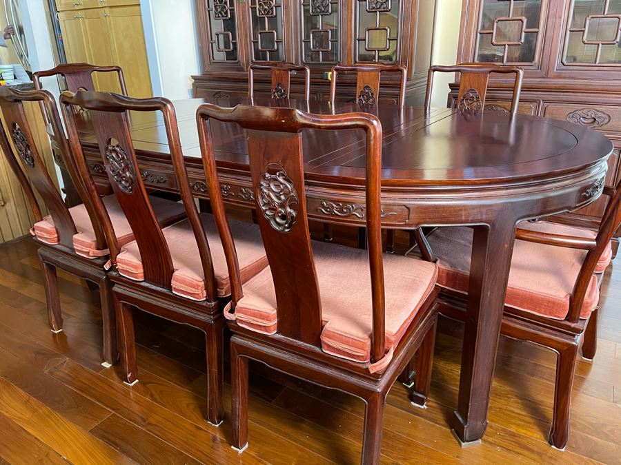 Beautiful Rosewood Dining Table With Two Leaves And Eight Rosewood Dining Chairs (Two Are Armchairs) 7'L X 4'W X 31'H