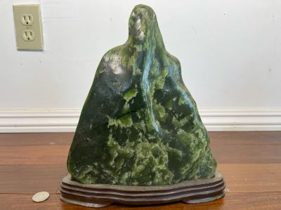 Antique Chinese Jade Stone Scholar Mountain Organic Sculpture With Wooden Stand 10W X 2.5D X 11H