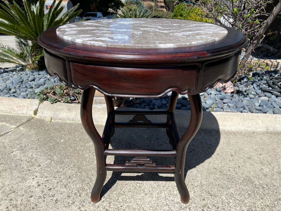 Stunning Antique Chinese Rosewood Marble Top Round Table 32W X 31H [Photo 1]