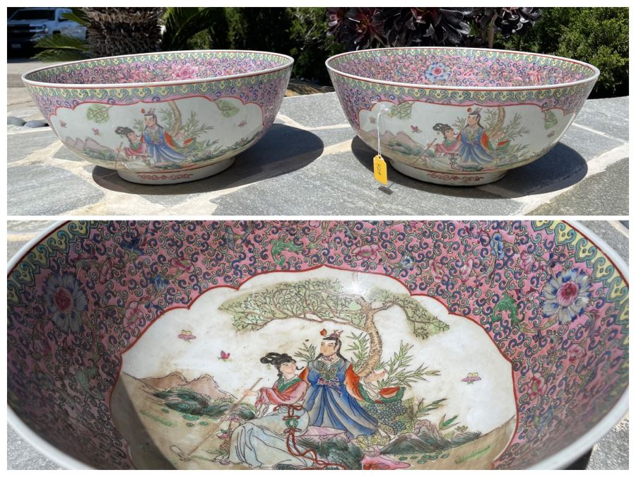 Two Matching Large Vintage Chinese Famille Rose Porcelain Bowls 16.5R X 7H