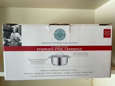New Martha Stewart Collection 8.5 Quart Stainless Steel Casserole Pot With Lid
