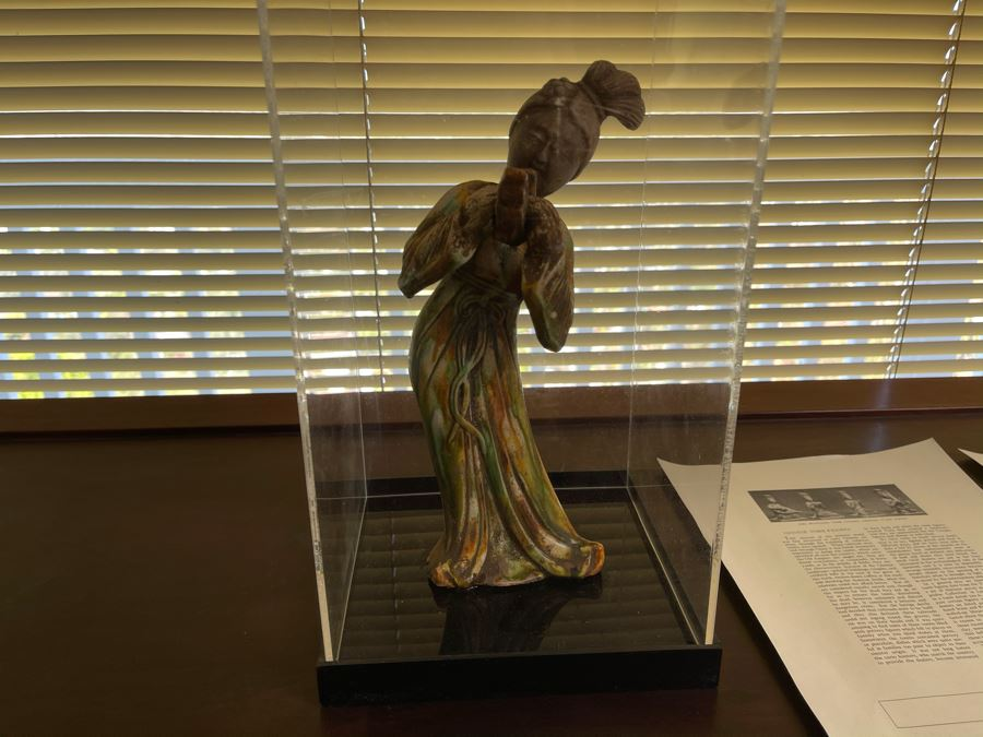 Chinese Tomb Figure With Acrylic Cover 13H X 7W [Photo 1]