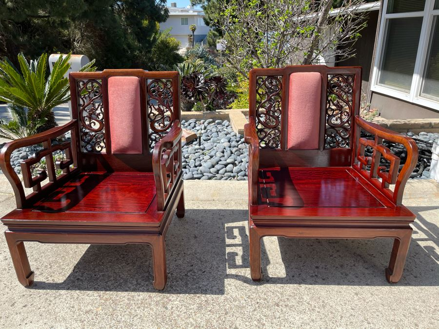 Pair Of Vintage Chinese Carved Rosewood Armchairs With Dragon Serpent Motif (Have Seat Cushions) [Photo 1]