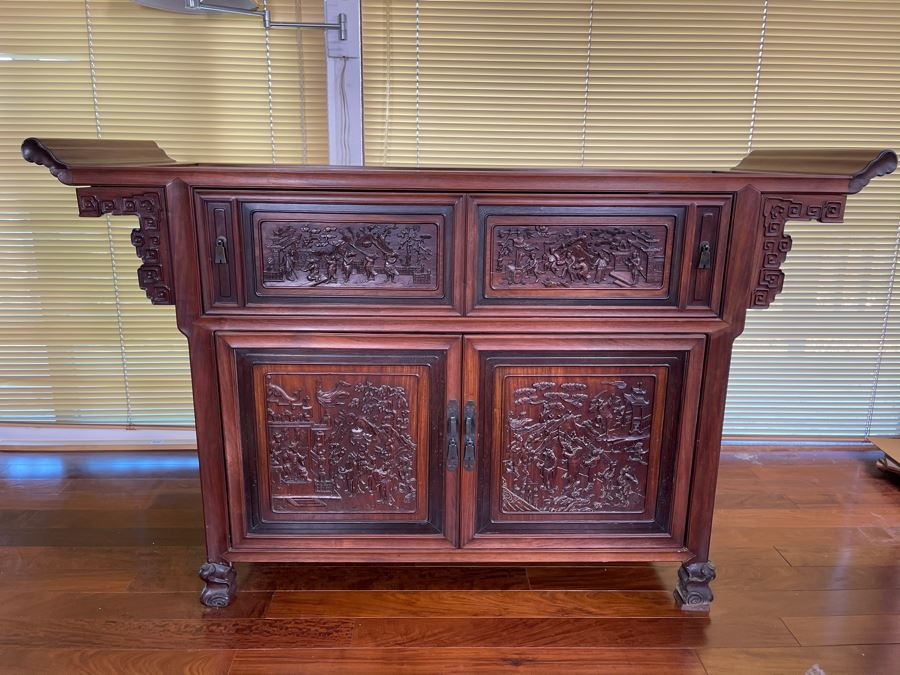Stunning Antique Chinese Rosewood Altar Cabinet Sideboard 64W X 22D X 36.5H [Photo 1]