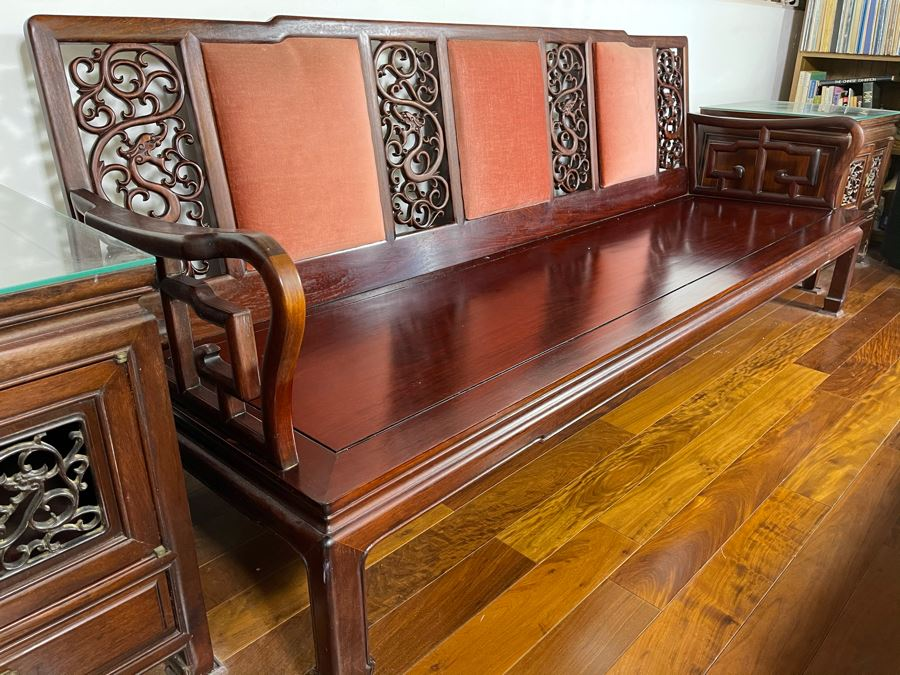 Vintage Chinese Carved Rosewood Long Bench Sofa With Dragon Serpent Motif (Have Seat Cushion With New Upholstery) 80W X 27D X 32H [Photo 1]