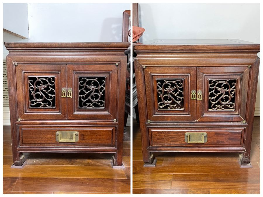 Pair Of Vintage Chinese Carved Rosewood Side Tables Cabinets With Dragon Serpent Motif [Photo 1]