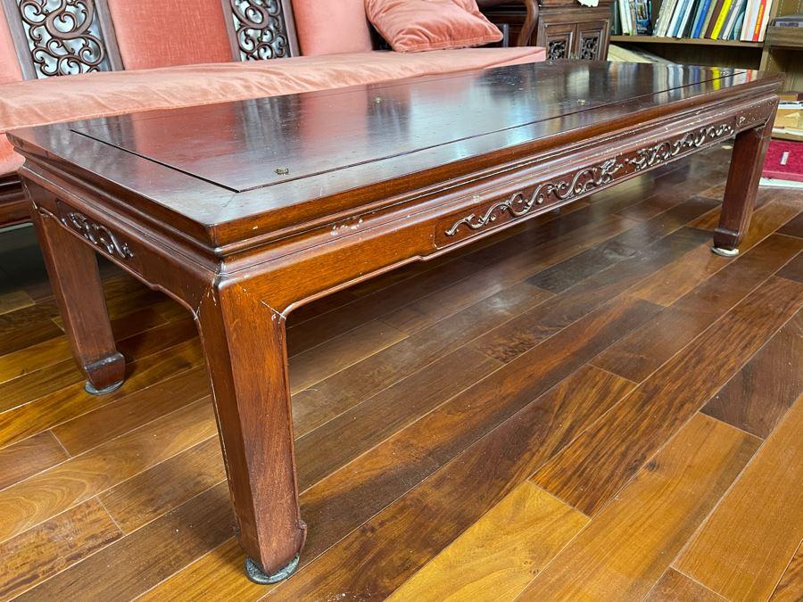 Rosewood Coffee Table Dragon Motif 54W X 22D X 16H [Photo 1]