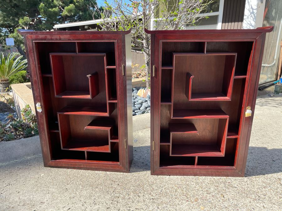Pair Of Rosewood Display Cabinets Never Used (One Has Chip On Top Corner As Shown In Photos) Each 22.5W X 6D X 30H [Photo 1]