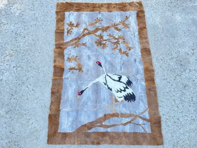 Vintage Chinese Hand Stitched Fur Artwork Rug Of Red Crowned Cranes 38 X 56