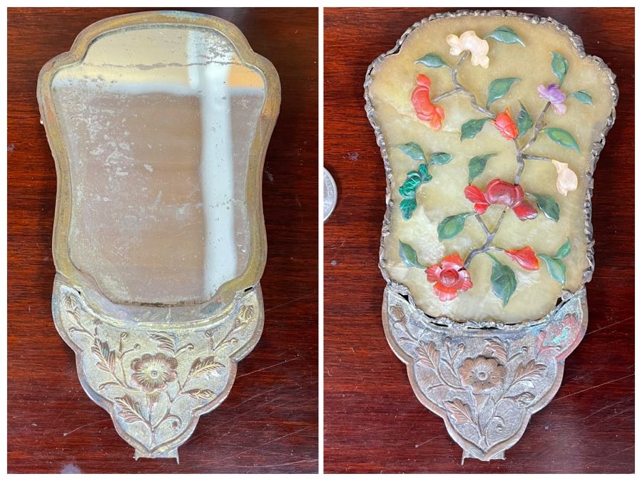 Antique Asian Hand Held Mirror With Semi Precious Stones (Missing Handle) 3.5W X 6H [Photo 1]