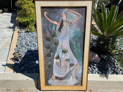 Original 1966 Impasto Painting By R. Gottlieb Titled 'La Hiedra' Oil On Masonite 24 X 48 Rosita Gottlieb