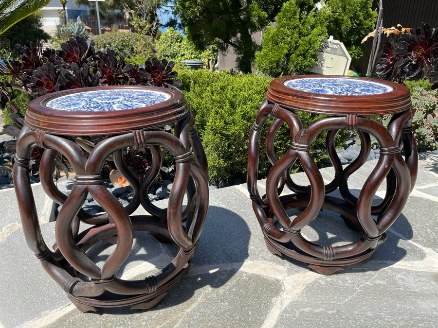 Pair Of Chinese Wooden Side Tables Plant Stands Stools With Porcelain Tops 16W X 18H [Photo 1]