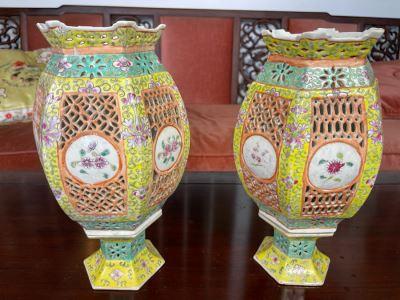 Pair Of Vintage Chinese Porcelain Wedding Lanterns Lamps 12H