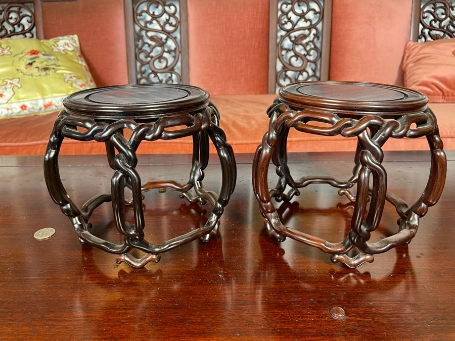 Pair Of Chinese Rosewood Wooden Stands 7H [Photo 1]